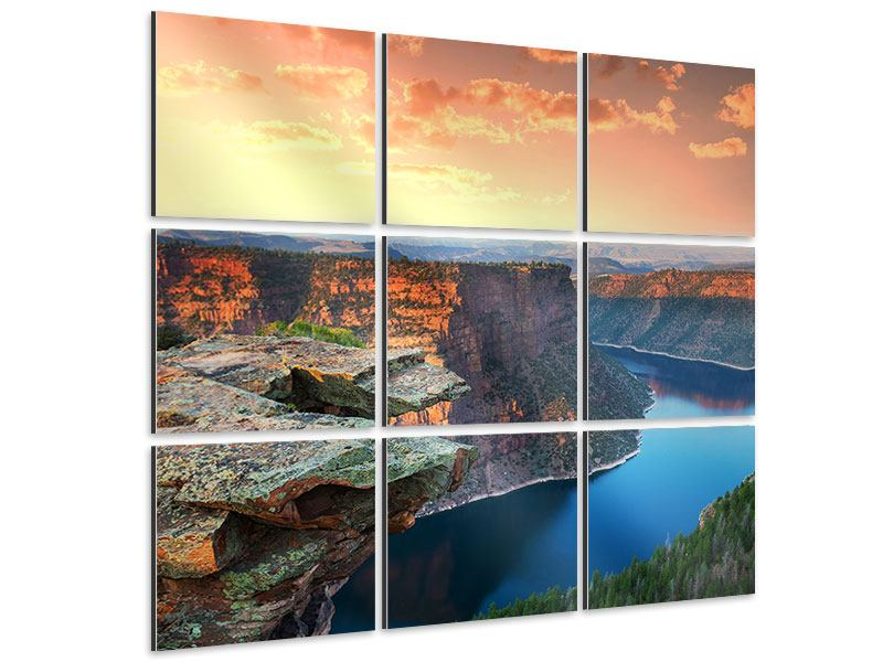 Aluminiumbild 9-teilig Sonnenuntergang Rocky Mountains
