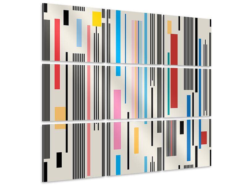 Aluminiumbild 9-teilig Grafische Streifen