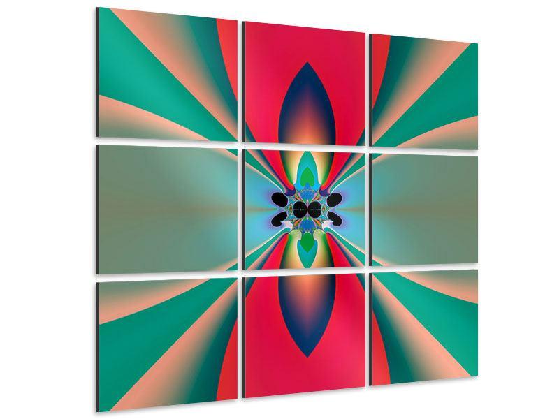 Aluminiumbild 9-teilig Psychedelic Art