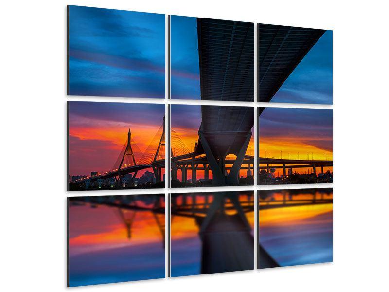 Aluminiumbild 9-teilig Bhumiboll-Brücke bei Sonnenuntergang