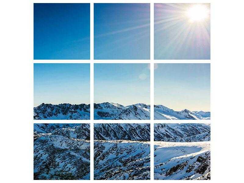 Aluminiumbild 9-teilig Berge im Schnee