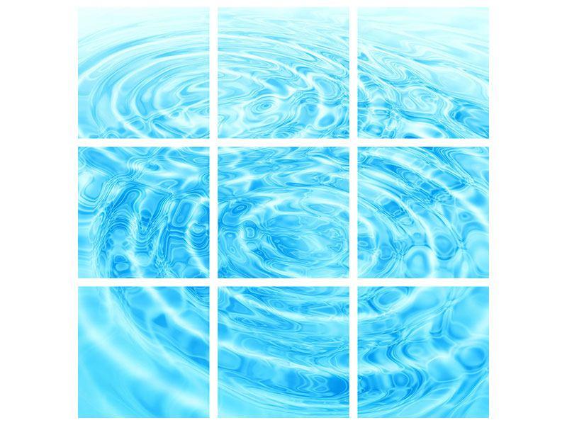 Aluminiumbild 9-teilig Abstraktes Wasserbad