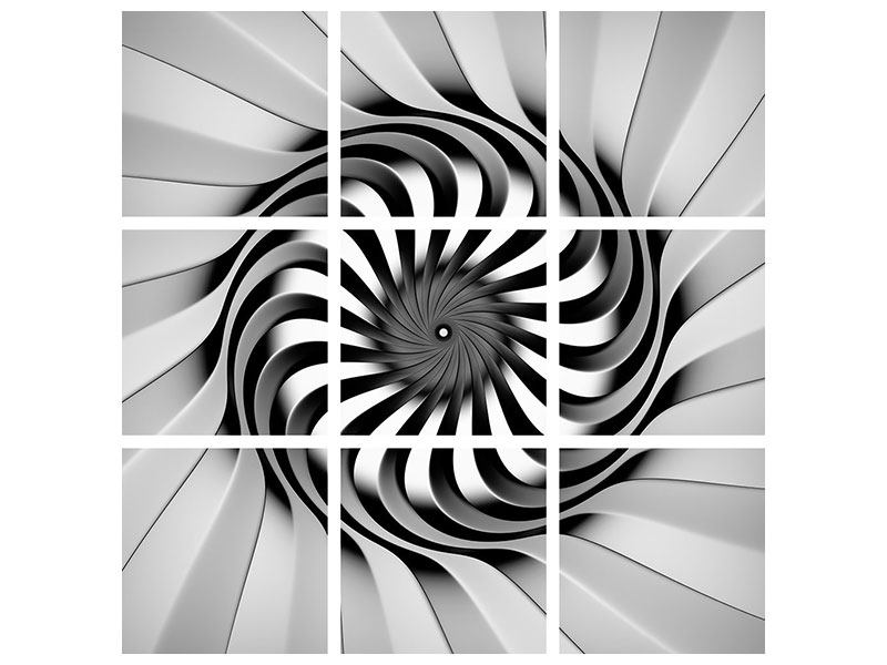 Aluminiumbild 9-teilig Abstrakte Spirale