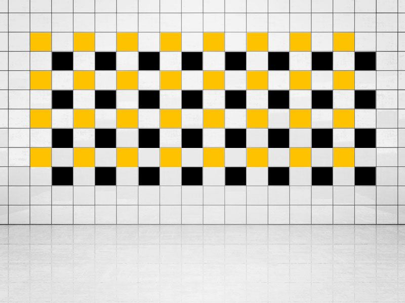 Tile Decor Black (A701) and Sun Yellow (A706-01) Set of 20