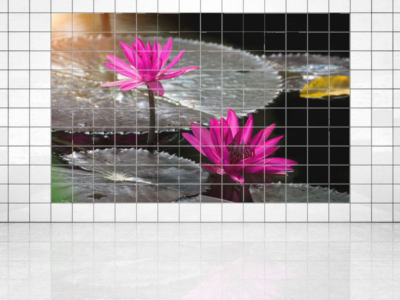 Tile Print Water Lily In The Morning Dew