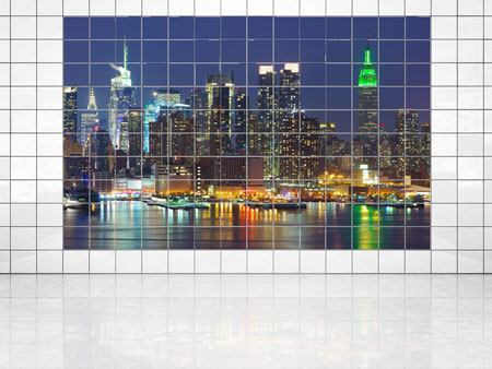 Fliesenbild Skyline New York Midtown bei Nacht