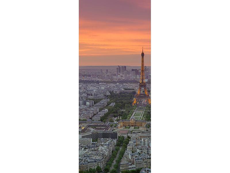 Türtapete Skyline Paris bei Sonnenuntergang