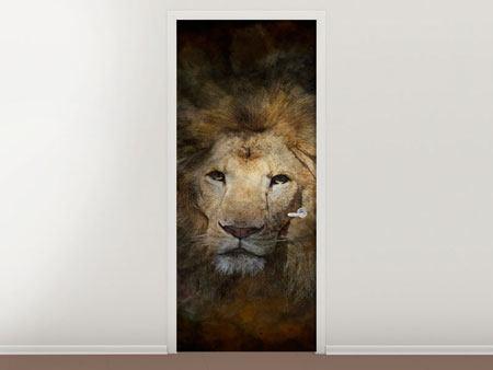 Türtapete Löwenportrait