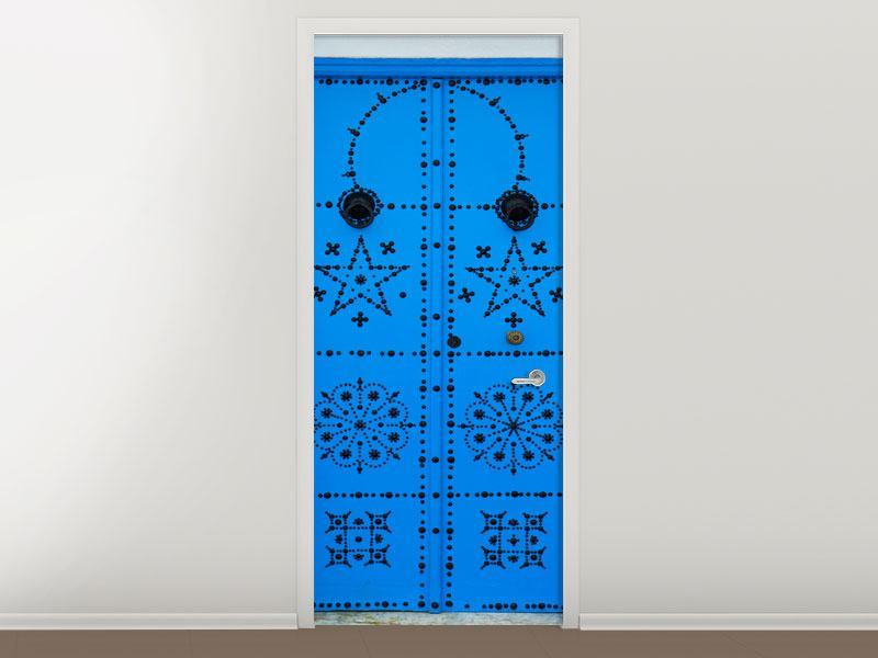 Türtapete Blaue Holztür