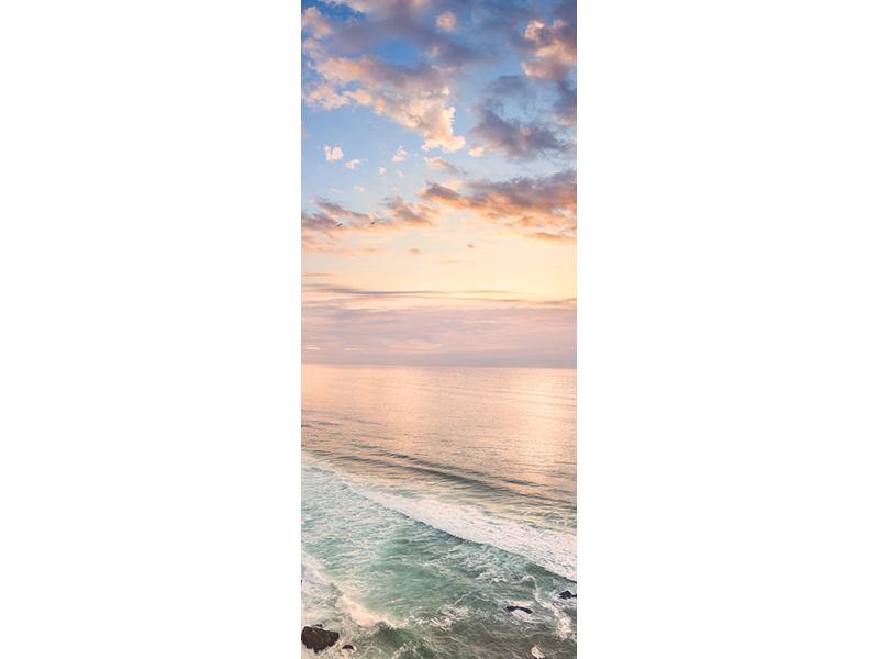 Türtapete Romantischer Sonnenuntergang am Meer