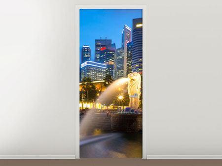 Türtapete Skyline Singapur im Lichtermeer