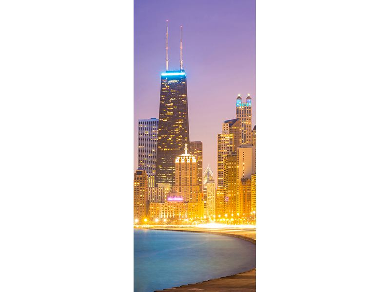 Türtapete Skyline Chicago in der Nacht