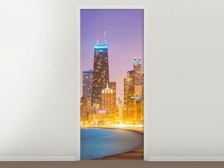 Türtapete Skyline Chicago in der Nacht