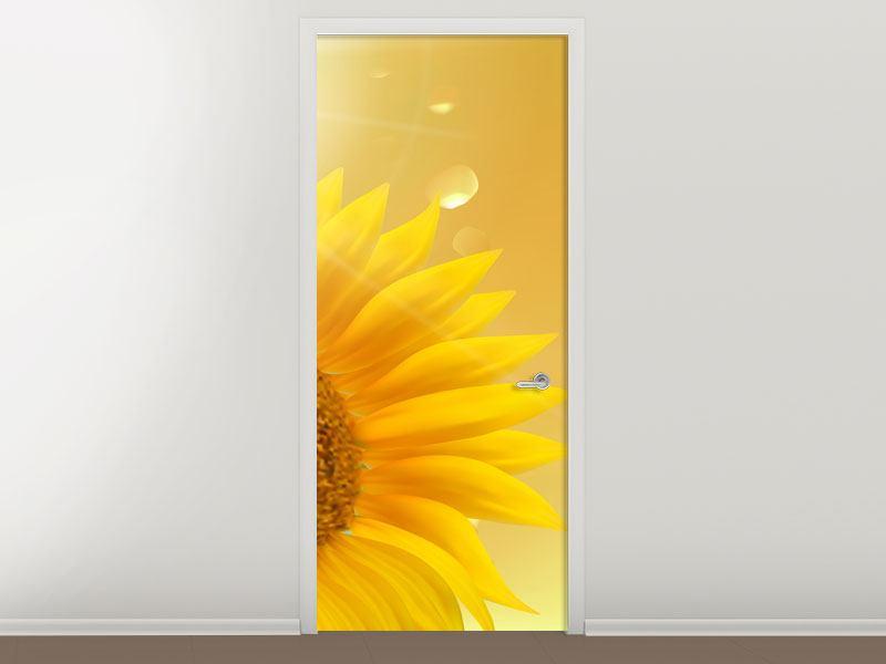 Türtapete Sonnenblume im Morgentau