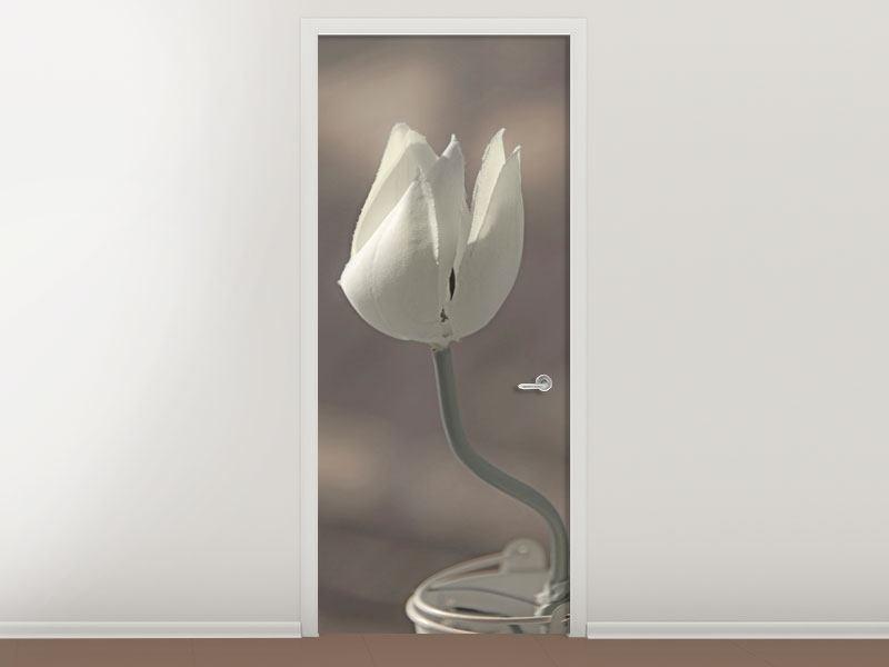 Türtapete Die Tulpe in Sepia