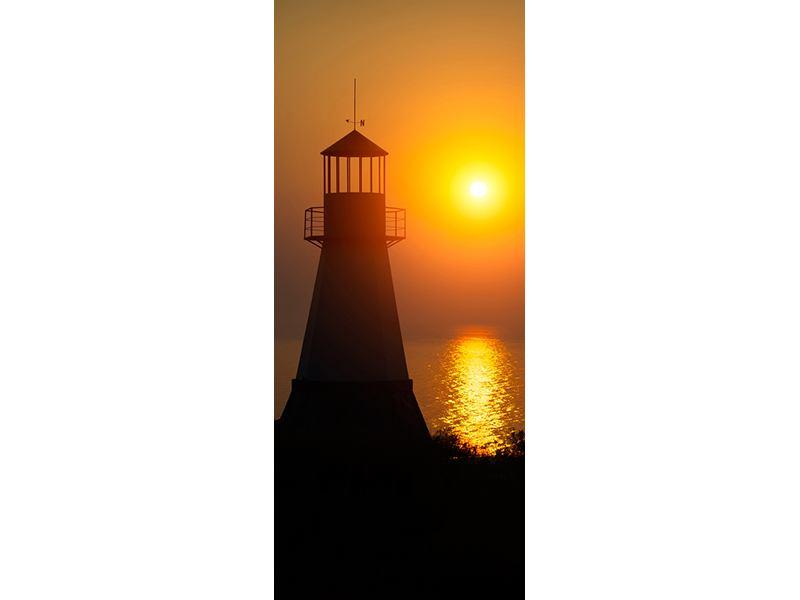 Türtapete Ein Leuchtturm bei Sonnenuntergang