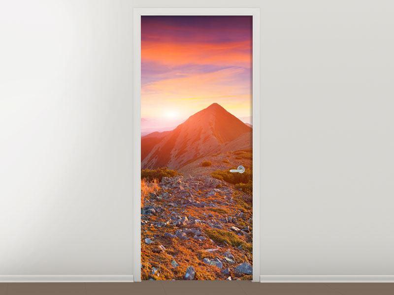 Türtapete Sonnenuntergang in den Alpen