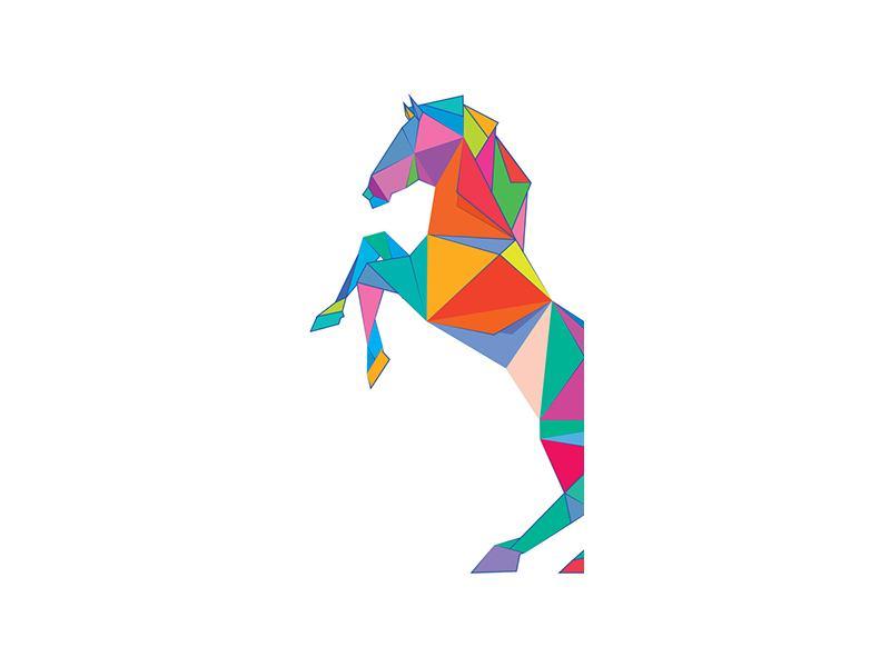 Türtapete Origami Pferd