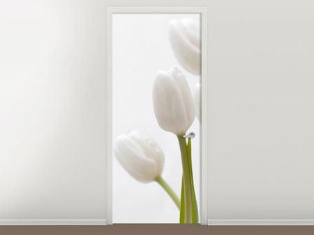 Türtapete Weisse Tulpen