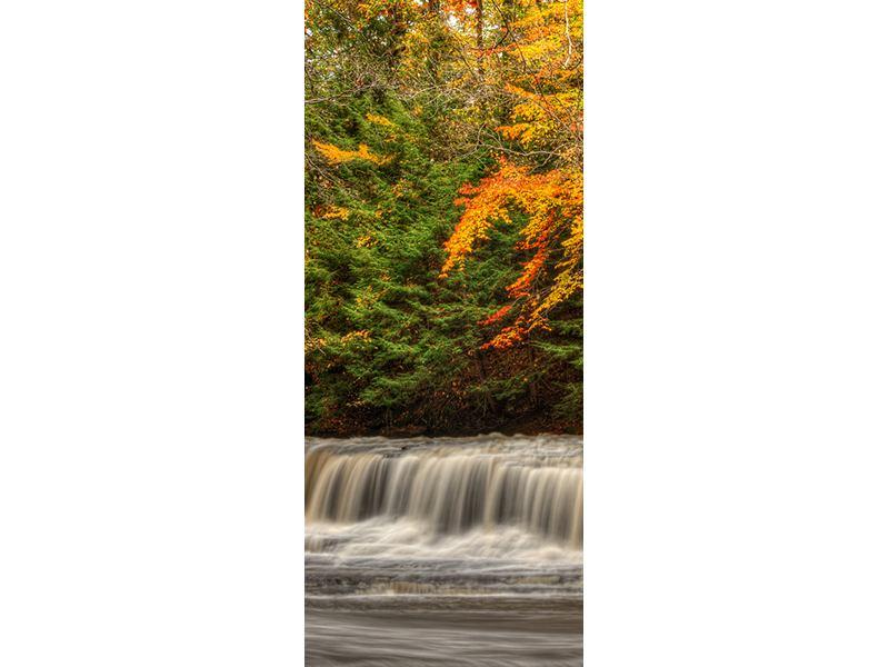 Türtapete Herbst beim Wasserfall