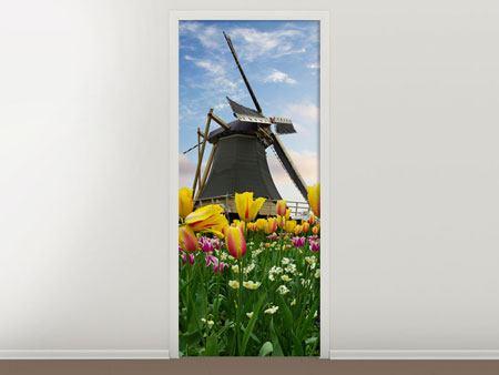 Türtapete Die Windmühle mit den Tulpen