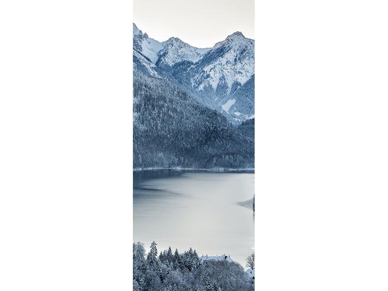 Türtapete Schwarzweissfotografie Berge