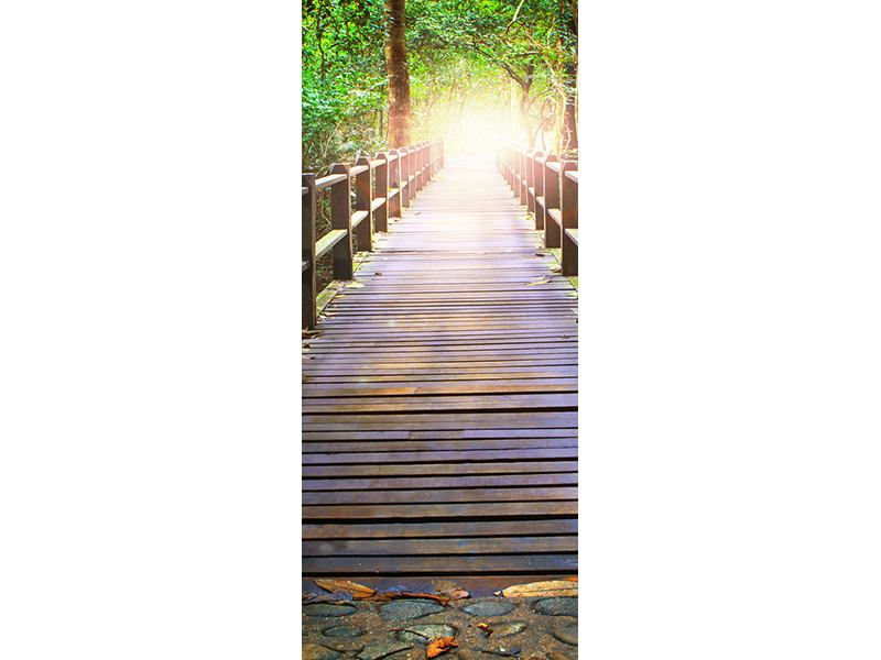 Türtapete Die Brücke im Wald