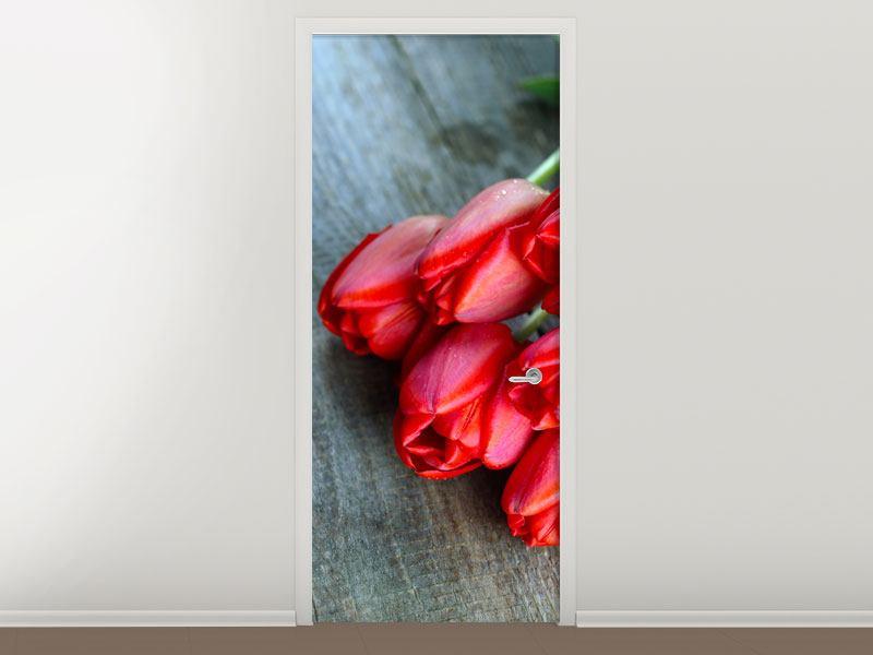 Türtapete Der rote Tulpenstrauss