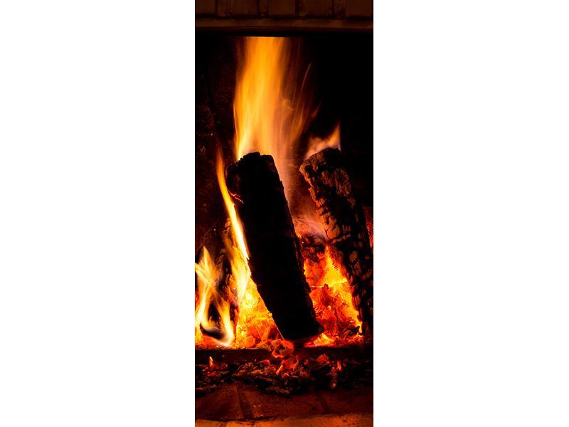 Türtapete Feuer im Kamin