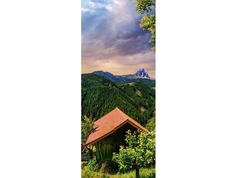 Türtapete Schweizer Berge im Sommer