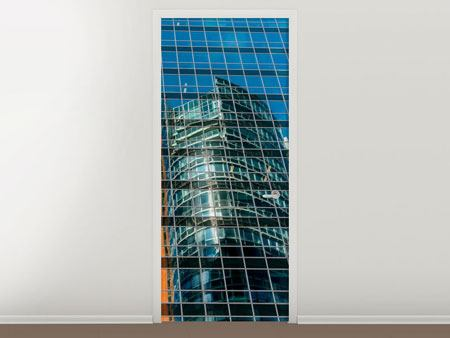 Türtapete Wolkenkratzer-Spiegel