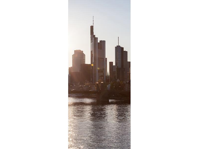 Türtapete Skyline Sonnenaufgang bei Frankfurt am Main