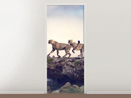 Türtapete Zwei Geparden