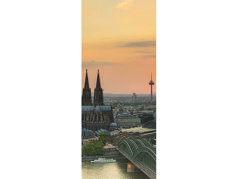Türtapete Skyline Köln bei Sonnenuntergang