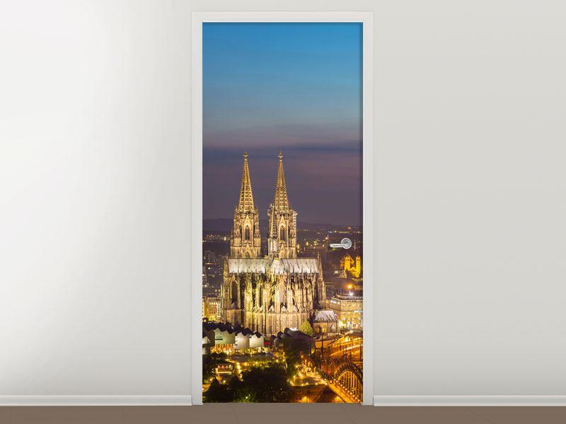 Türtapete Skyline Kölner Dom bei Nacht