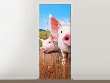Türtapete Schweinchen im Glück
