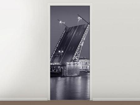 Türtapete Klappbrücke bei Nacht