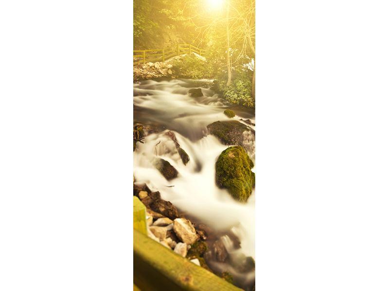 Türtapete Sonnenuntergang am Wasserfall