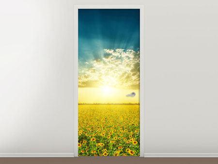 Türtapete Sonnenblumen in der Abendsonne