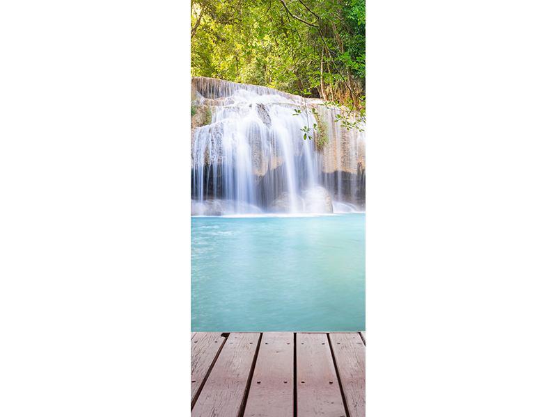 Türtapete Terrasse am Wasserfall