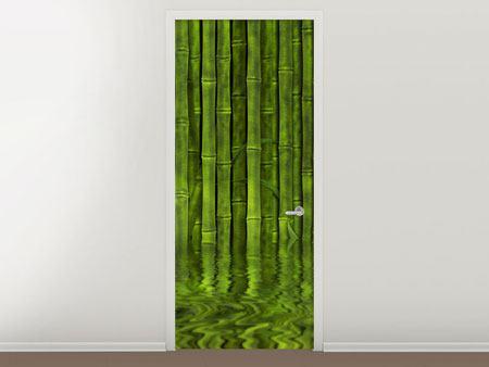 Türtapete Wasserspiegelung Bambus