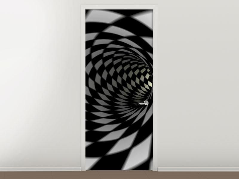 Türtapete Abstrakter Tunnel Black & White