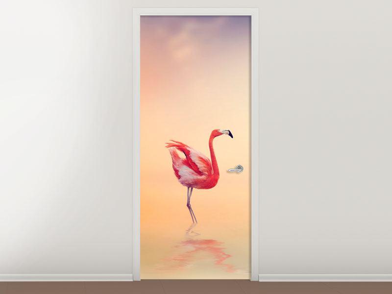 Türtapete Romantische Flamingos