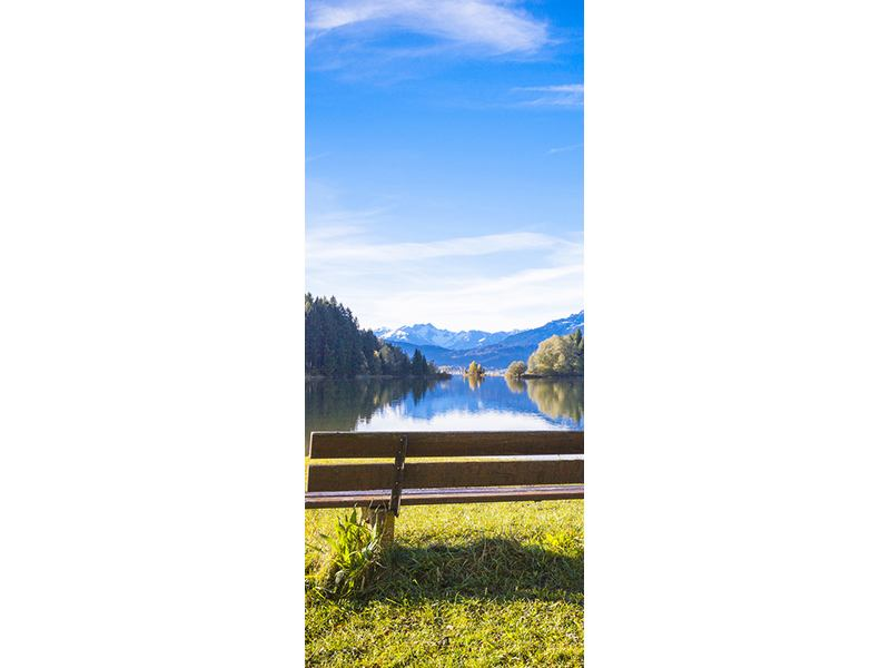 Türtapete Sitzbank mit Bergpanorama