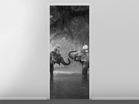 Türtapete Zwei Elefanten