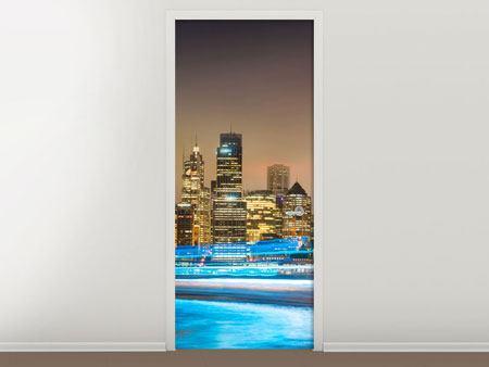 Türtapete Skyline Sydney im Lichtermeer