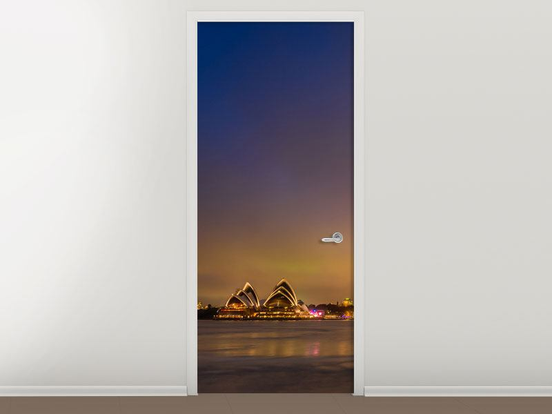 Türtapete Skyline Opera House in Sydney im Abendlicht