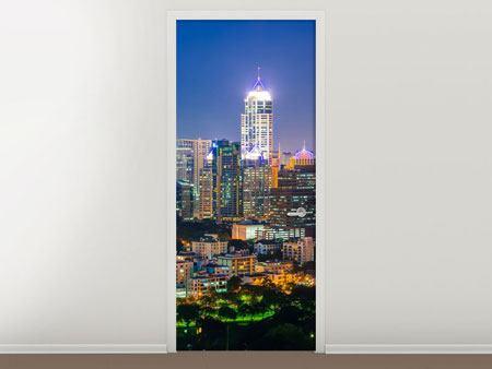 Türtapete Skyline One Night in Bangkok