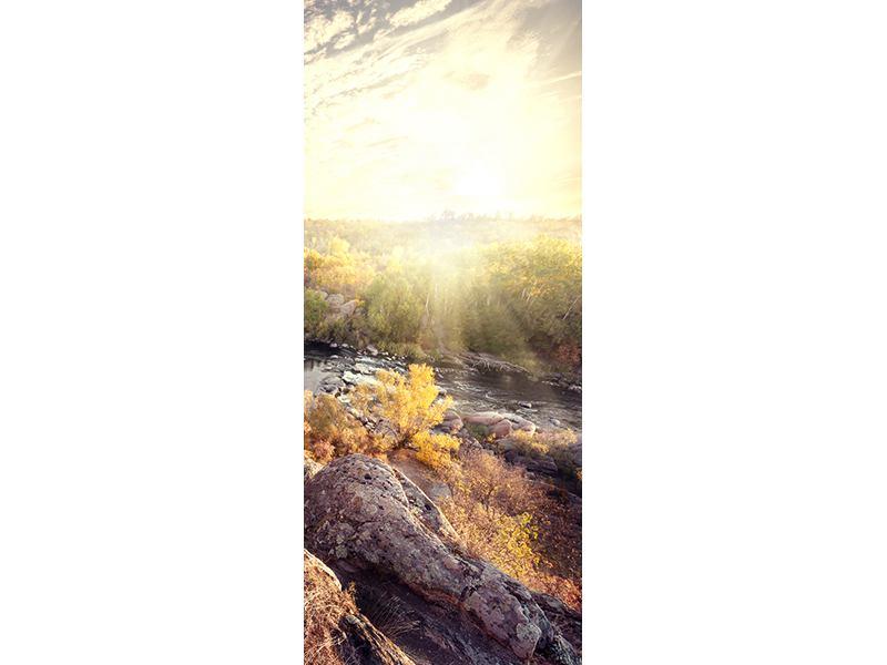 Türtapete Sonnenaufgang am Fluss