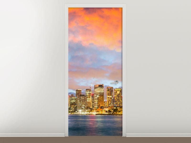 Türtapete Skyline Das Lichtermeer von Sydney